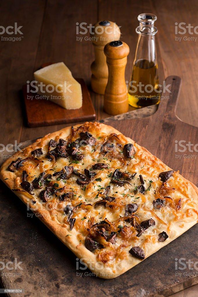 Gourmet Flatbread Pizza stock photo