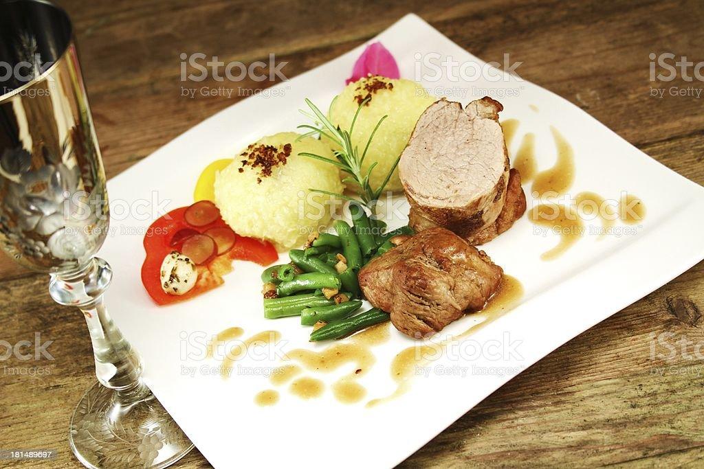 Gourmet food - pork loin royalty-free stock photo