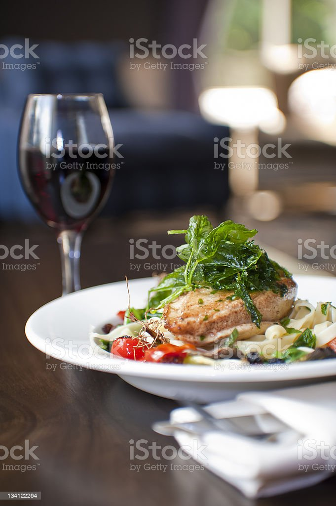 Gourmet food with wine stock photo