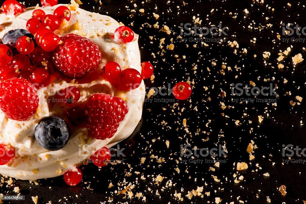 Gourmet greek yogurt with wild berries stock photo