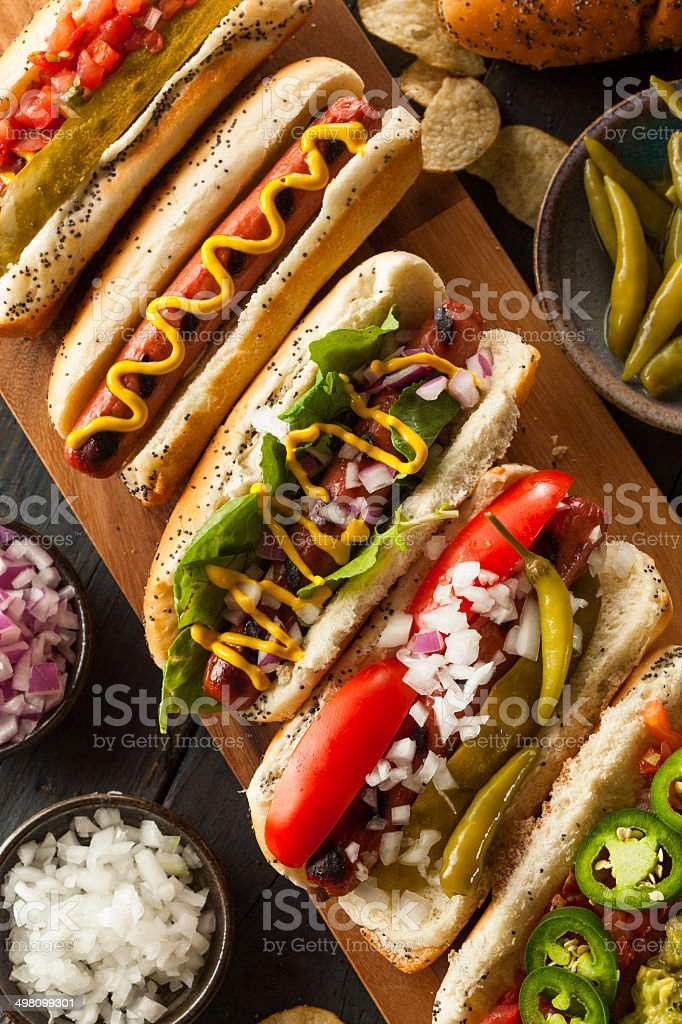 Gourmet Grilled All Beef Hots Dogs stock photo