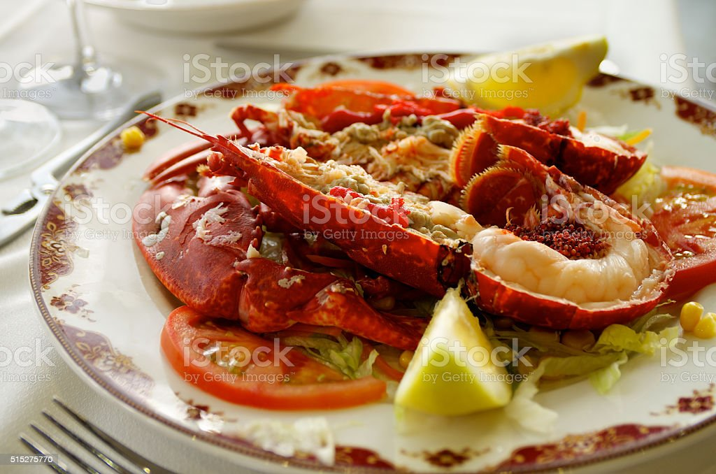 Gourmet Grilled Lobster stock photo
