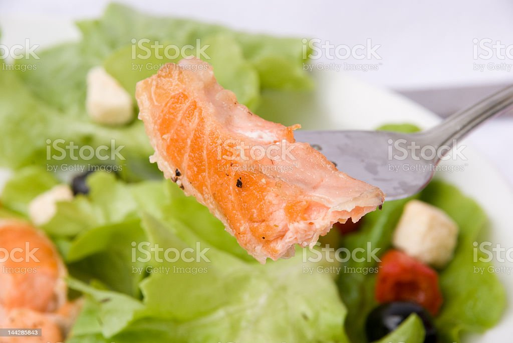 Gourmet grilled Salmon slice with Herbs-Crust and Salad royalty-free stock photo