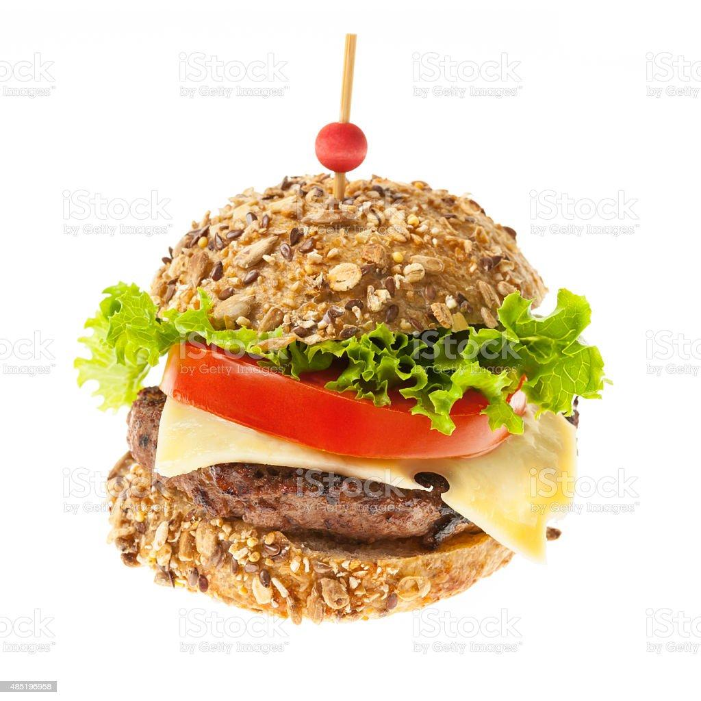 Gourmet hamburger on white stock photo