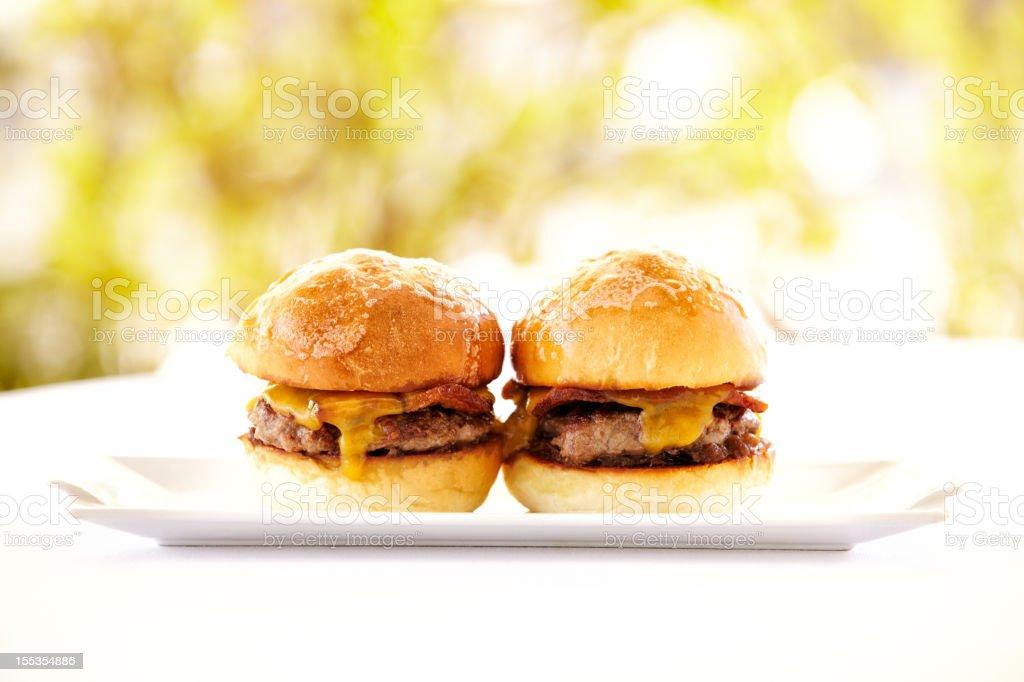 Gourmet hamburgers against nature background royalty-free stock photo