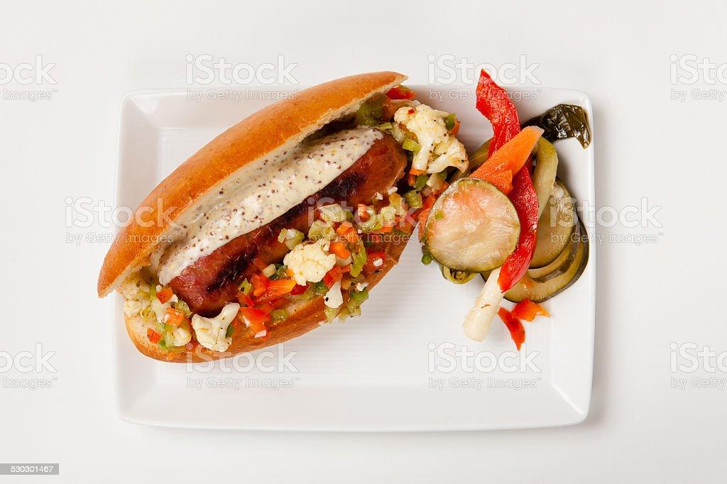 Gourmet Hot Dog stock photo