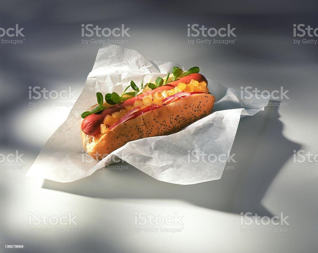 Gourmet Hotdog stock photo
