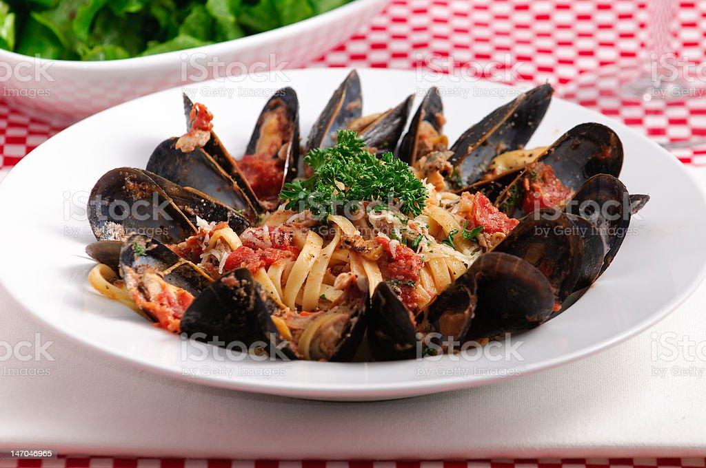 Gourmet Italian Seafood Dinner royalty-free stock photo