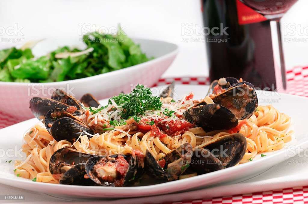 Gourmet Italian Seafood Dinner royalty-free stock photo
