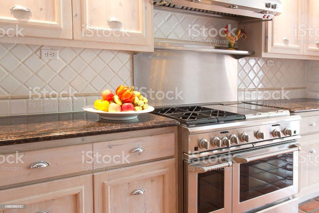 Gourmet Kitchen in a Luxury Estate Home Santa Fe Style stock photo