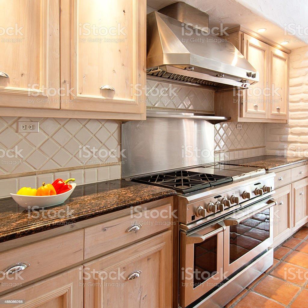 Gourmet Kitchen in an Luxury Estate Home Santa Fe Style stock photo