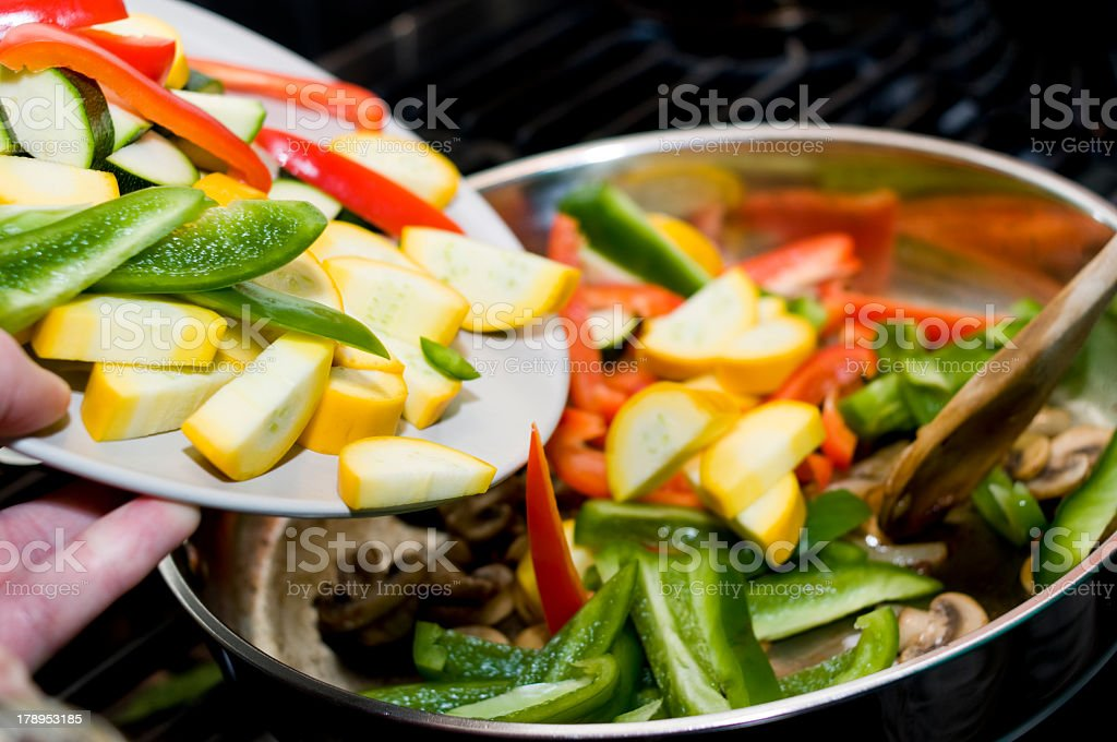 Gourmet meal being cooked over the stove stock photo