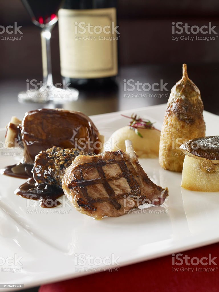 Gourmet meat dish stock photo