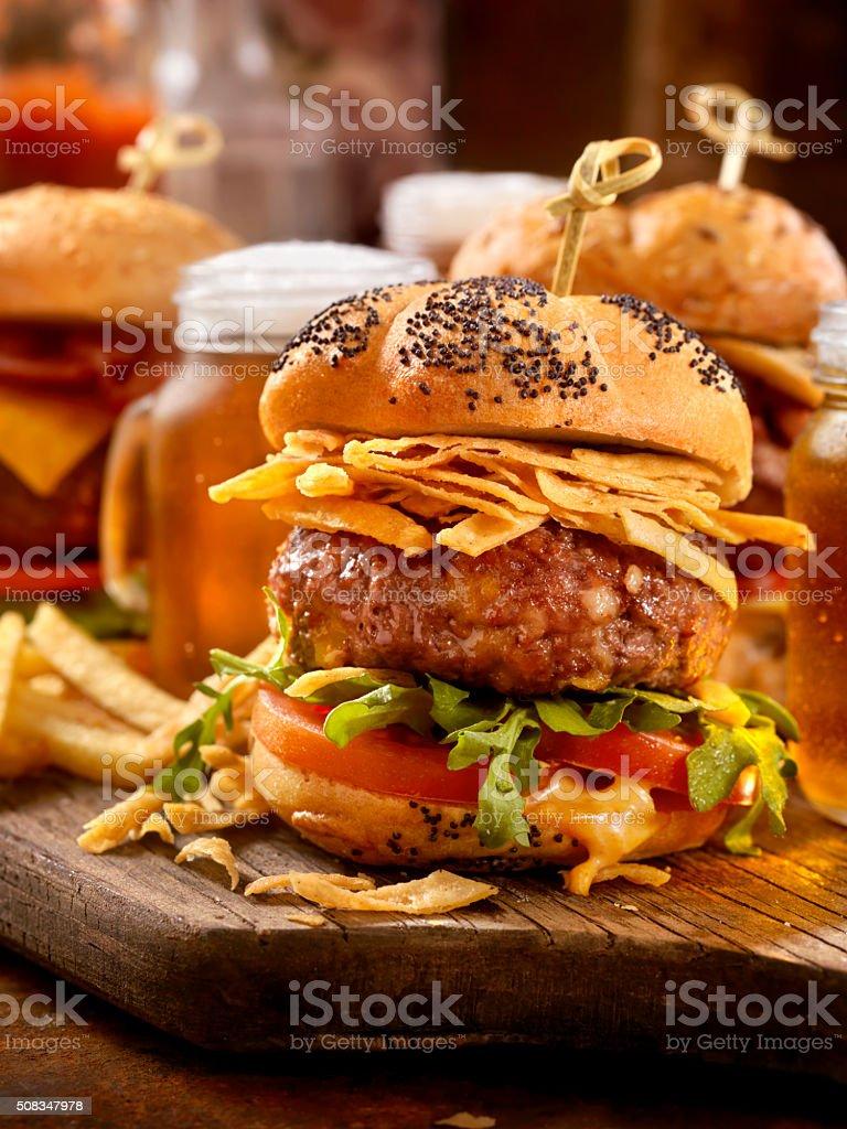 Gourmet Mini Burgers with Beer Samplers stock photo