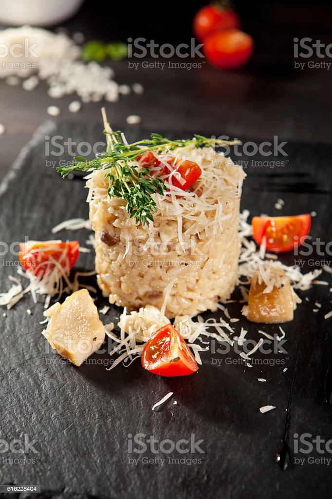 Gourmet Mushroom Risotto stock photo