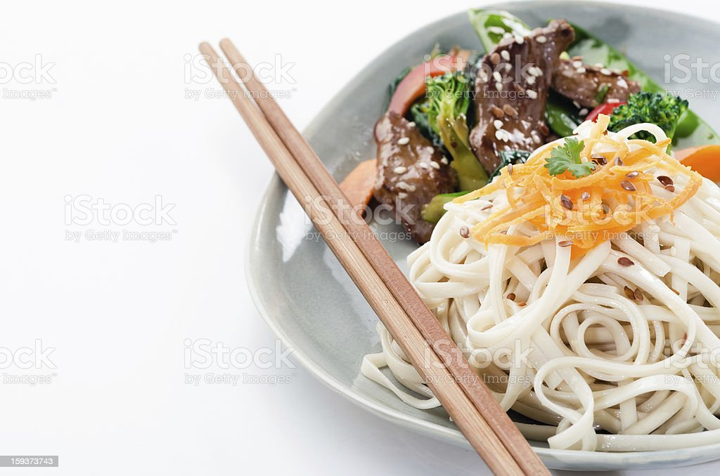 Gourmet noodles with beef stir fry royalty-free stock photo
