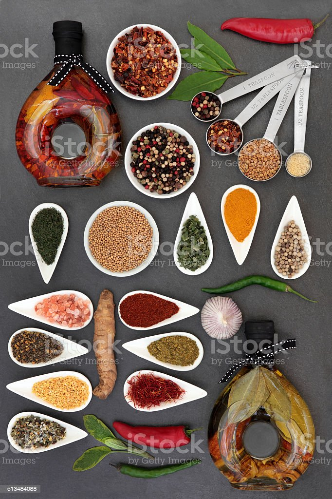Gourmet Olive Oil and Herbs stock photo