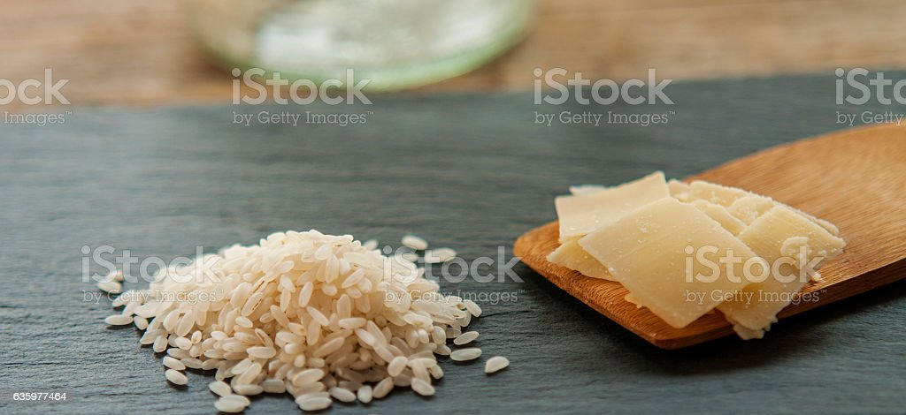 Gourmet Organic Parmesan Cheese on a Background with rice stock photo