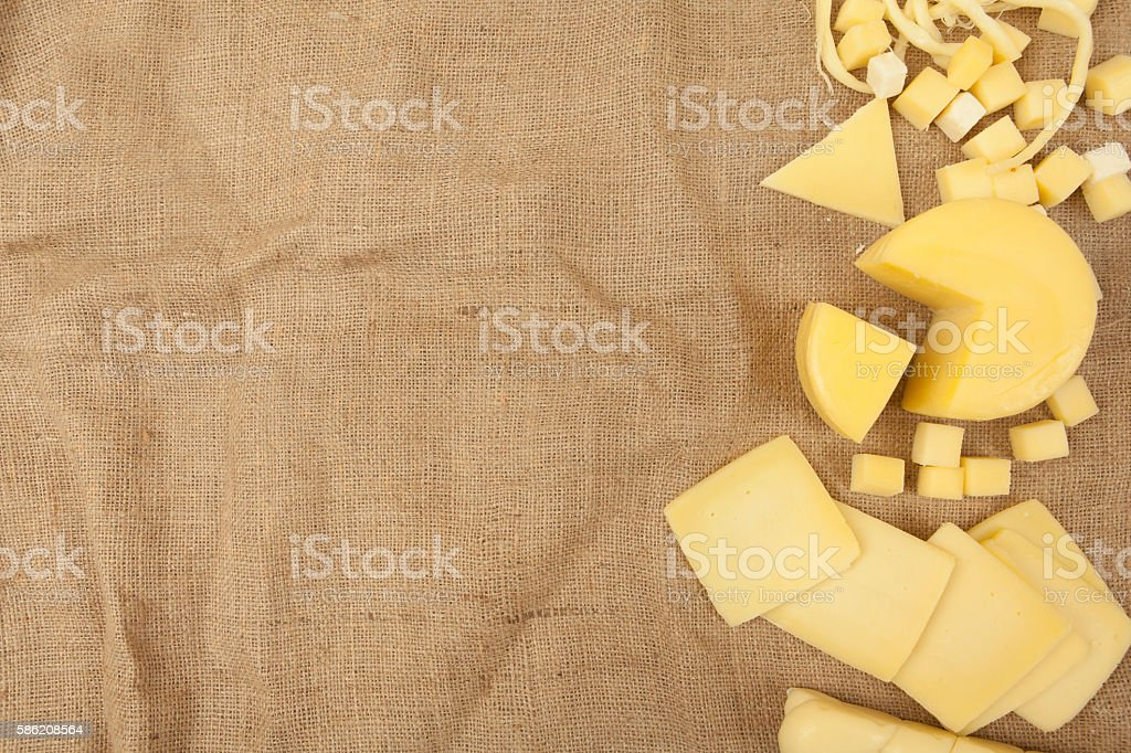 Gourmet Organic Parmesan Cheese on fabric Background stock photo