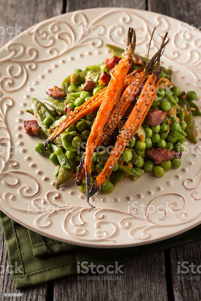 Gourmet Peas and Carrots stock photo