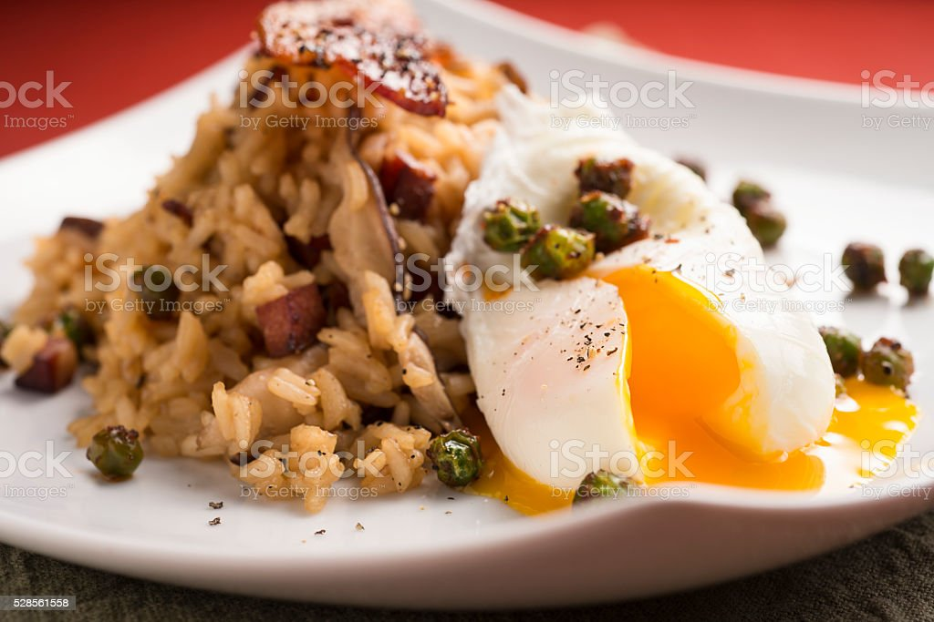 Gourmet Poached Eggs stock photo