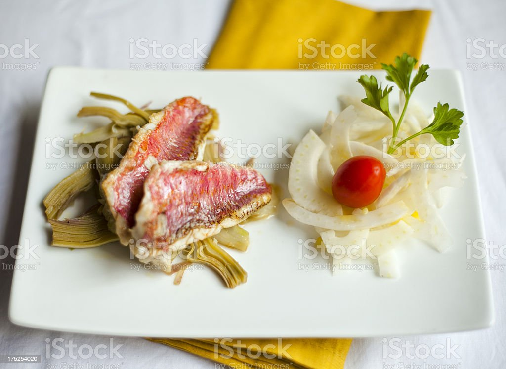 Gourmet Recipe of Roasted Red Mullet royalty-free stock photo