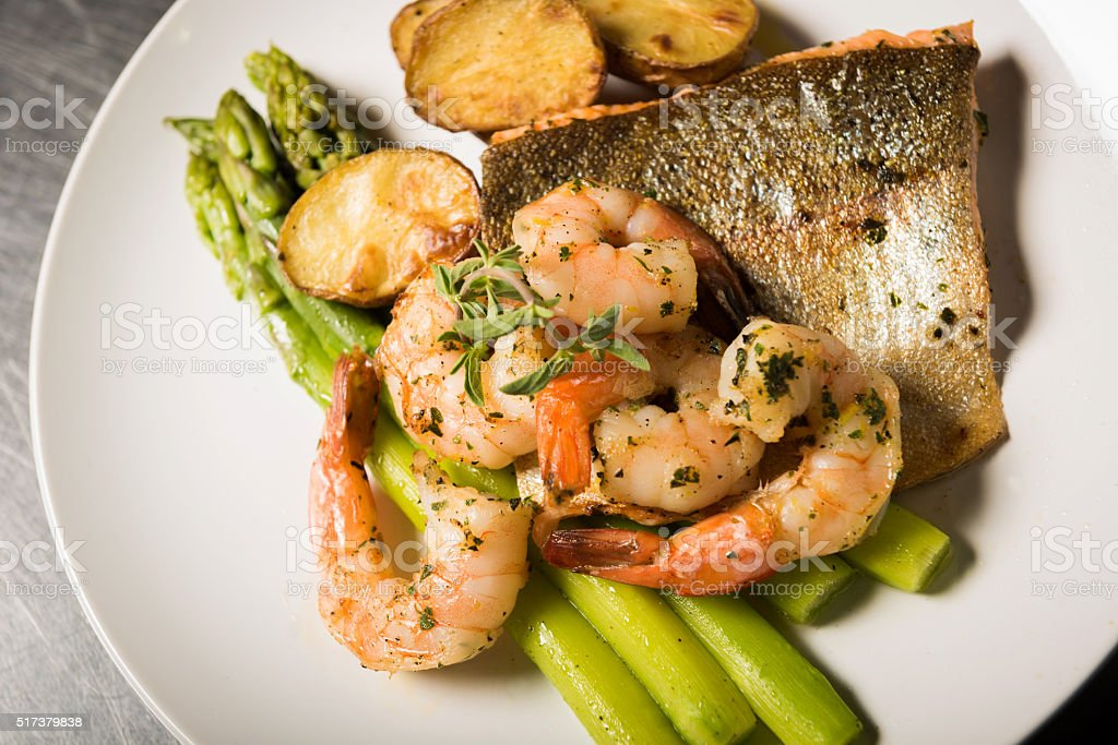 Gourmet Salmon and Prawns stock photo