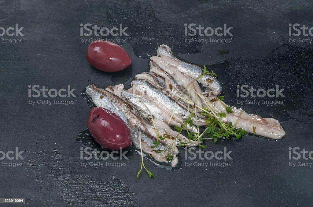Gourmet Sardellen stock photo