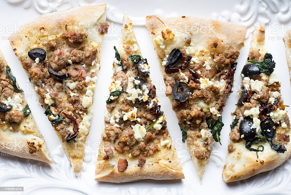 Gourmet Sausage Pizza royalty-free stock photo
