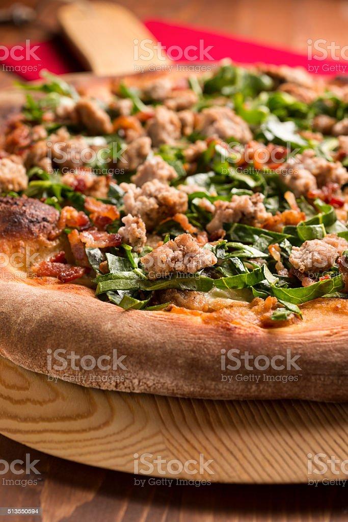 Gourmet Sausage Pizza stock photo