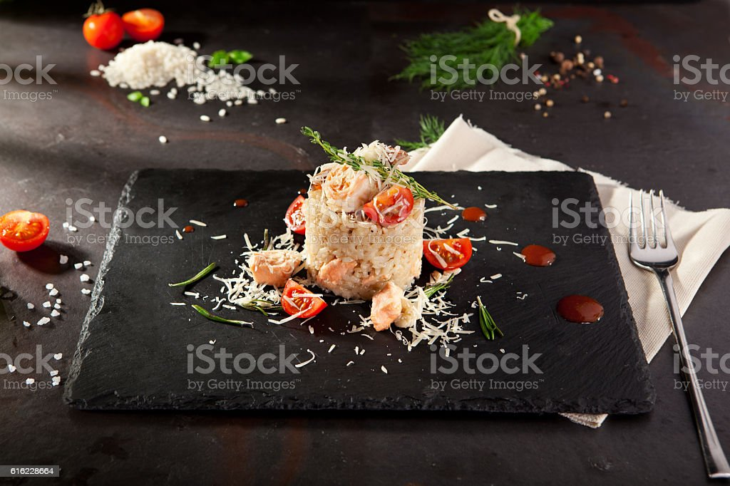 Gourmet Seafood Risotto stock photo