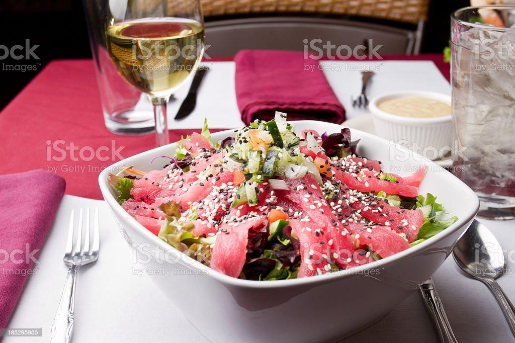 Gourmet Seared Tuna Salad royalty-free stock photo