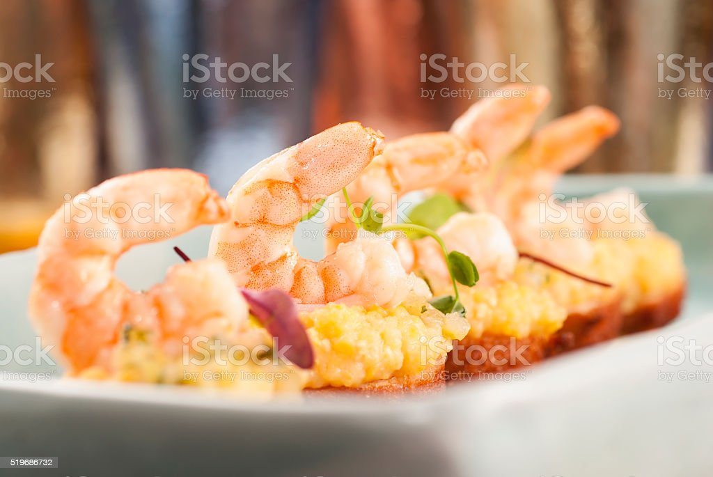 Gourmet Shrimp Appetizer stock photo