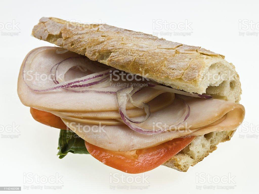 Gourmet sliced turkey sandwich royalty-free stock photo