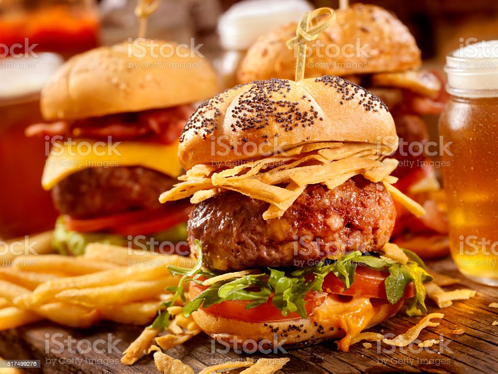 Gourmet Sliders with Beer Samplers stock photo