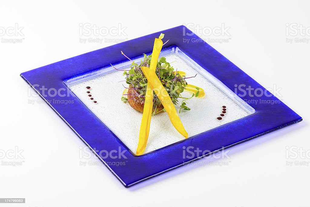 Gourmet Souffle with Salad Greens royalty-free stock photo