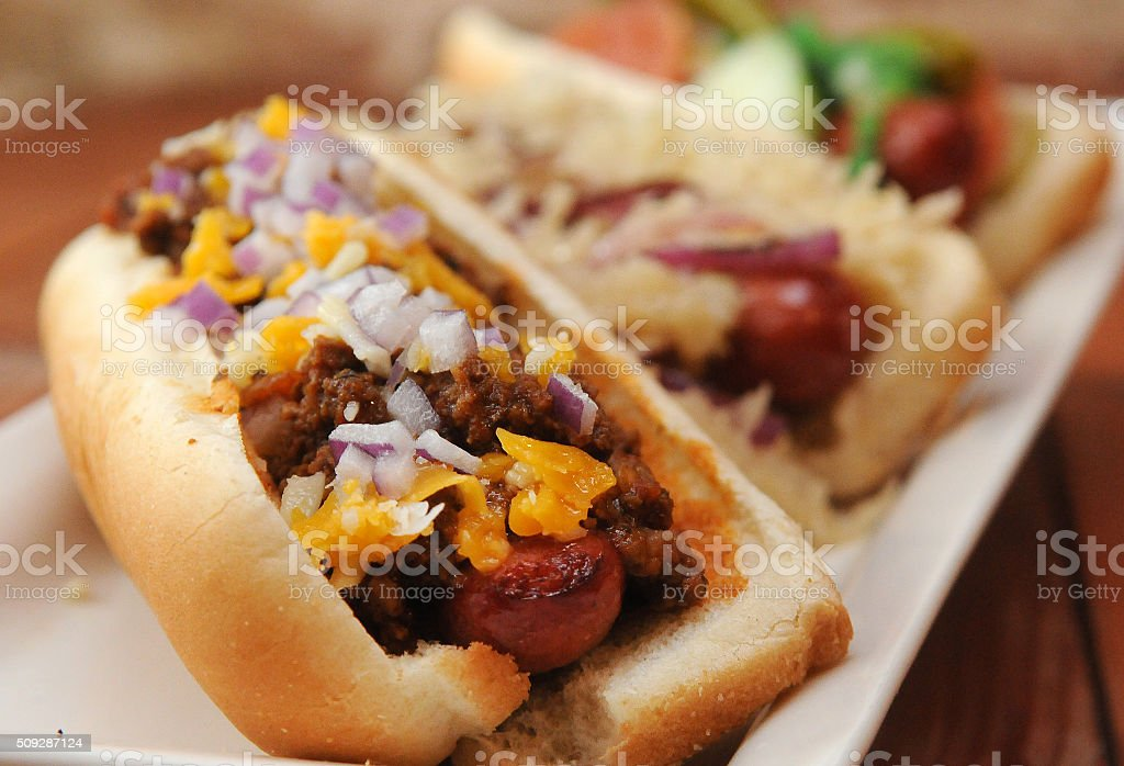 Gourmet Stadium Dogs Close Up stock photo