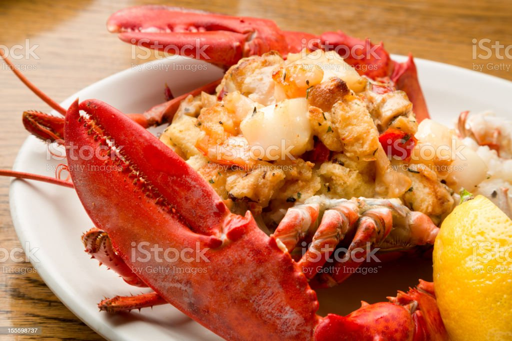 Gourmet Stuffed Lobster stock photo
