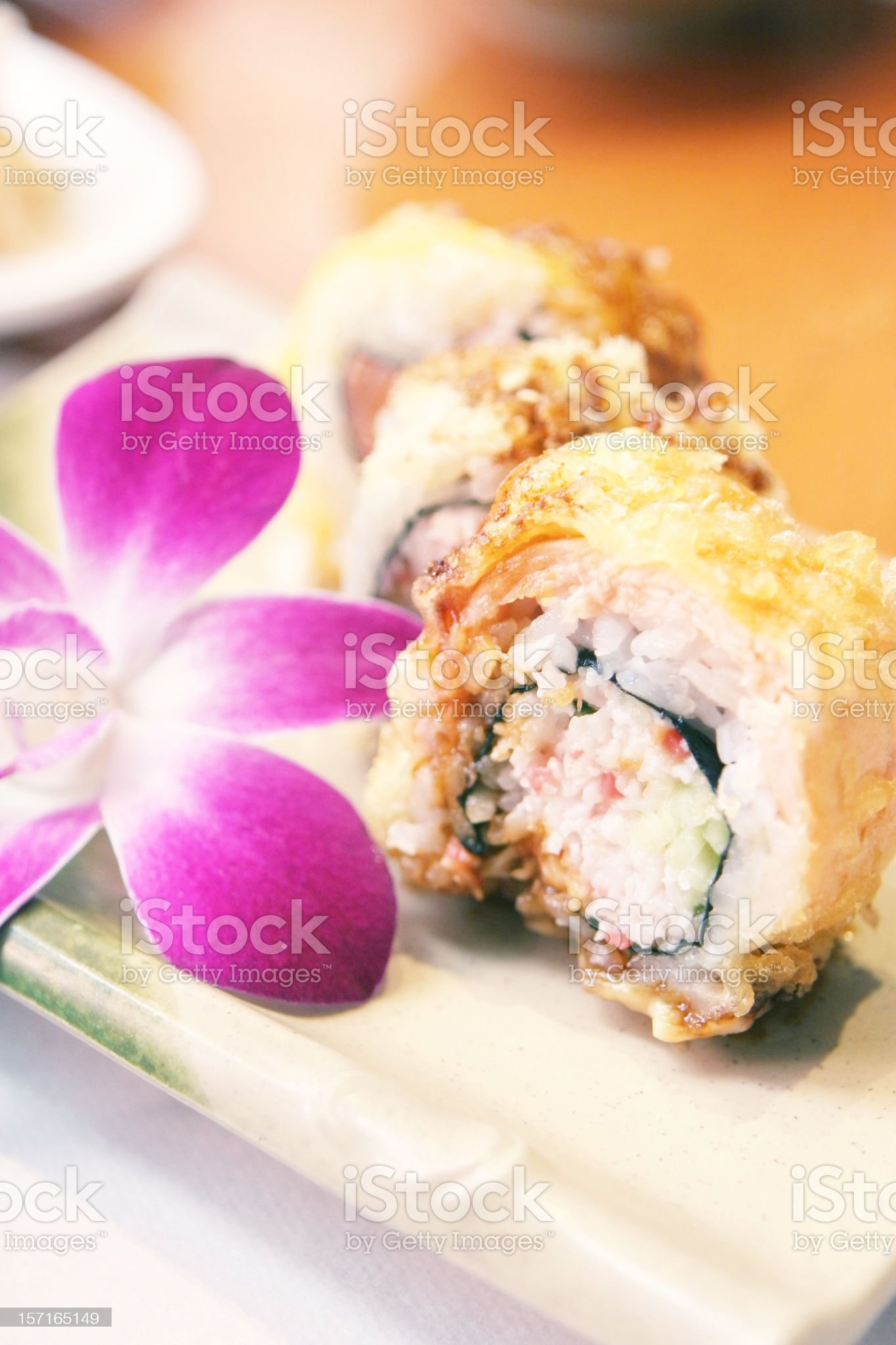 Gourmet Sushi with Pink Flower royalty-free stock photo