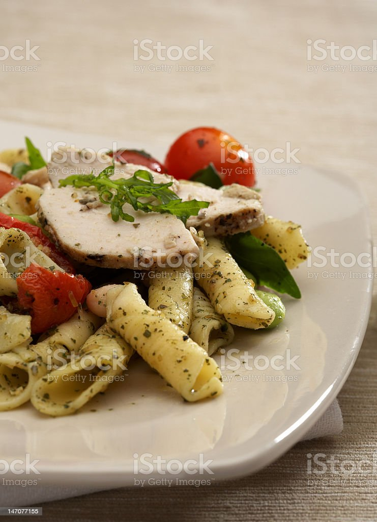 Gourmet tomatoes and chicken penne pasta with pesto sauce royalty-free stock photo