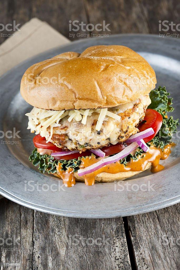 Gourmet Turkey Burger stock photo