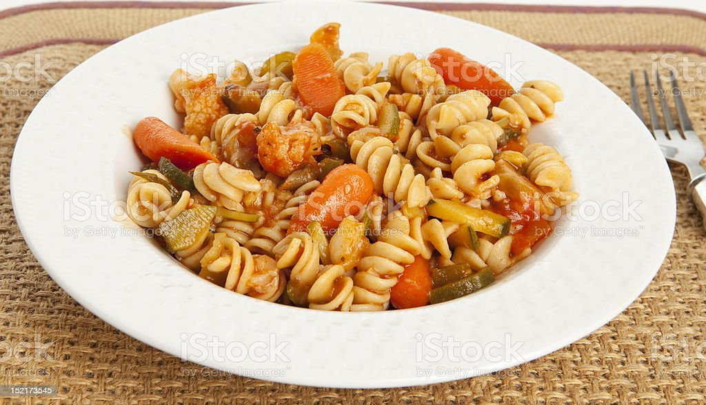 Gourmet Vegetable Pasta with Tomato Sauce royalty-free stock photo