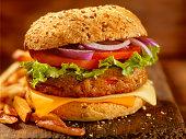 Gourmet Veggie Burger with Red Skin Fries