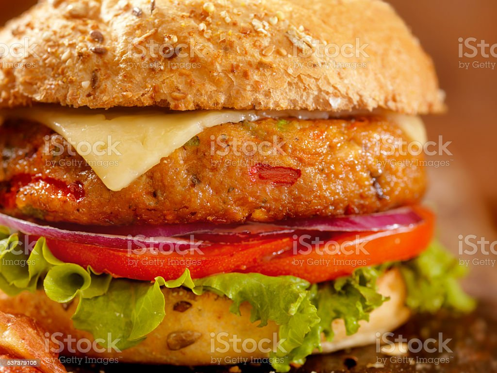 Gourmet Veggie Burger with Red Skin Fries stock photo
