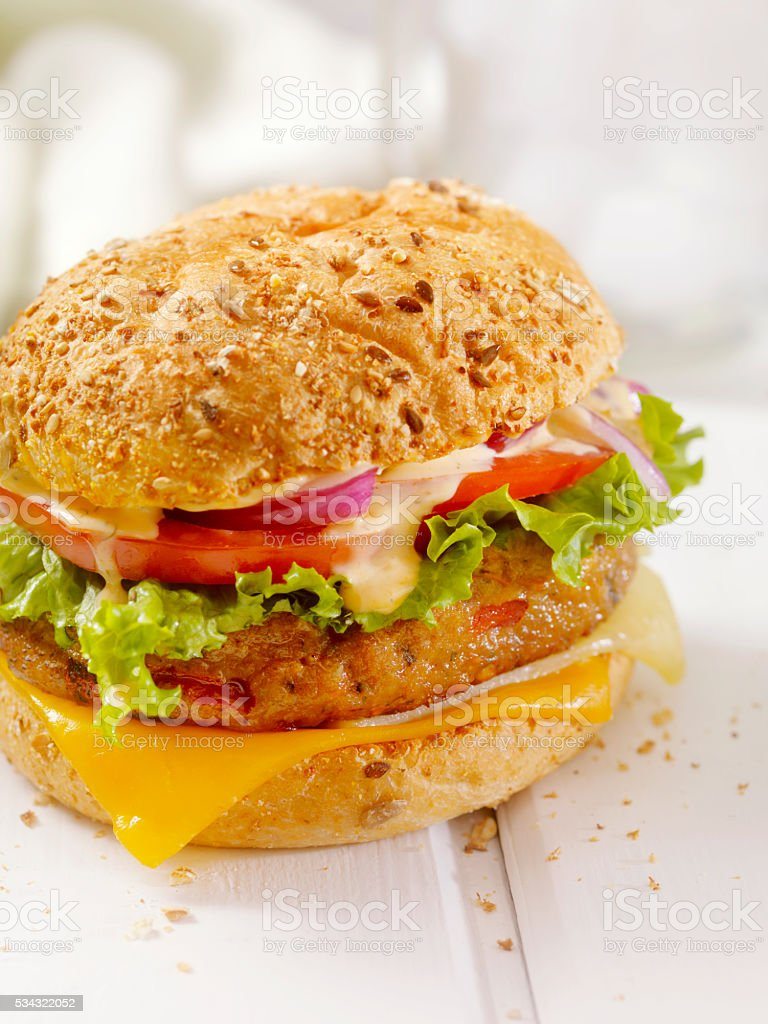 Gourmet Veggie Burger with Spicy Mayo stock photo