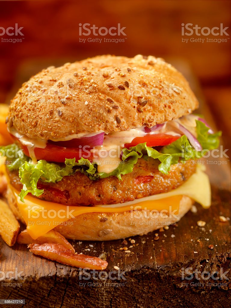 Gourmet Veggie Burger with Spicy Mayo stock photo