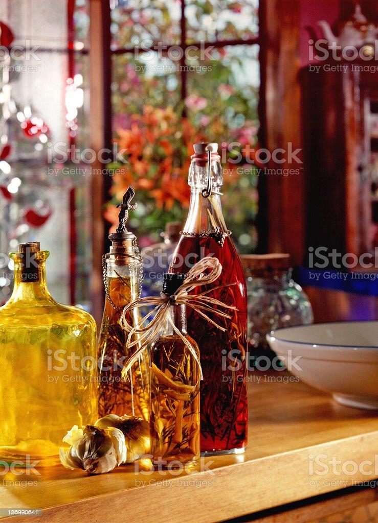 Gourmet Vinegar Bottles royalty-free stock photo