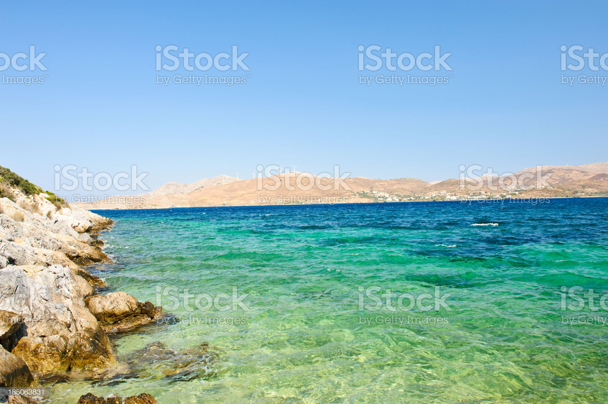Gournas bay with windmills royalty-free stock photo