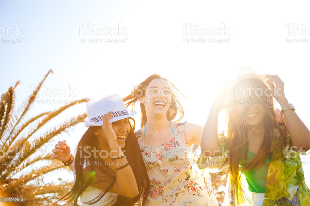 Gourp of teenager hanging out stock photo