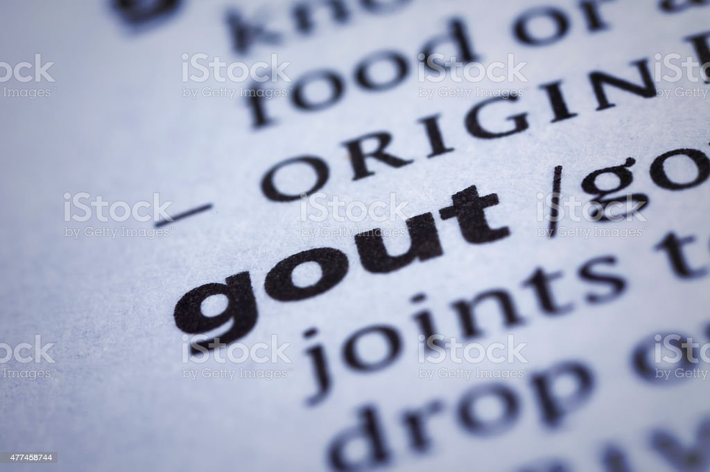 Gout: Dictionary Close-up stock photo